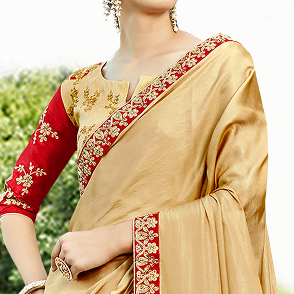 Marvellous Beige Colored Party Wear Embroidered Satin Silk Saree