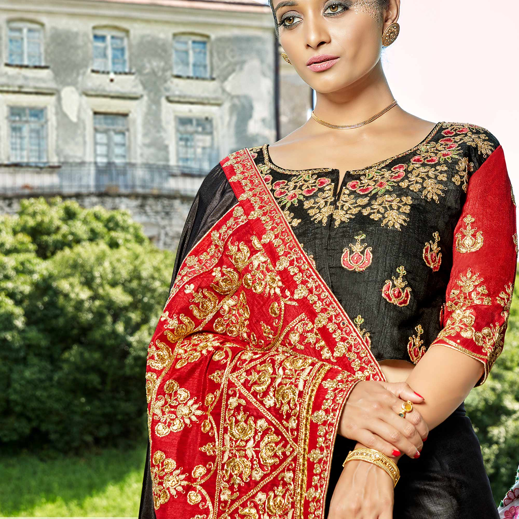 Mesmerising Black Colored Party Wear Embroidered Silk Saree