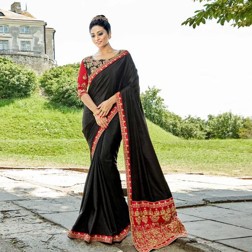 Mesmerising Black Colored Party Wear Embroidered Satin Silk Saree