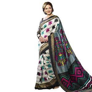 White - Grey Casual Wear Saree