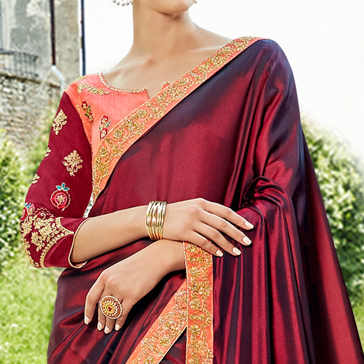 Ravishing Maroon Colored Party Wear Embroidered Silk Saree