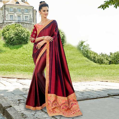 Ravishing Maroon Colored Party Wear Embroidered Satin Silk Saree