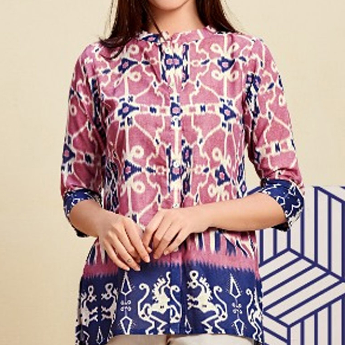 Stylish Pink Colored Casual Wear Digital Printed Linen Western Top
