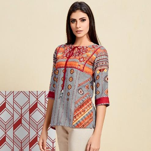 Fab Gray Colored Casual Wear Digital Printed Linen Western Top