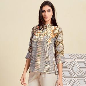 Amazing Multi Colored Casual Wear Digital Printed Linen Western Top