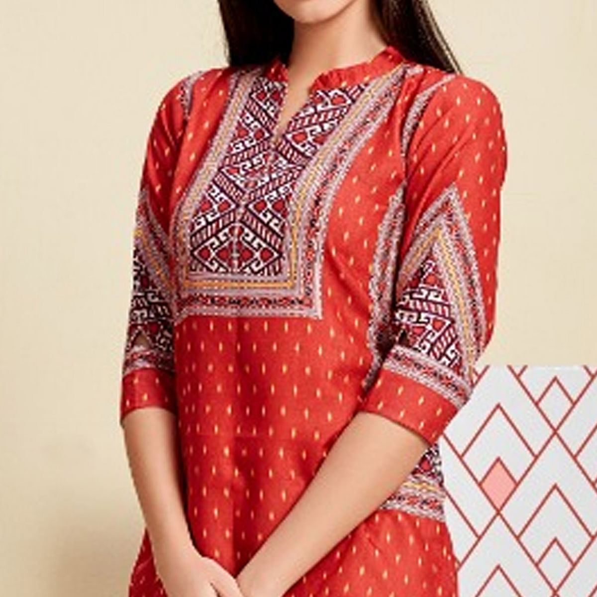 Exceptional Red Colored Casual Wear Digital Printed Linen Western Top