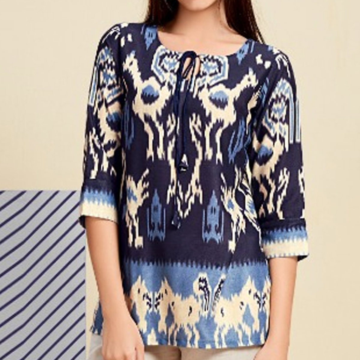 Staring Blue Colored Casual Wear Digital Printed Linen Western Top