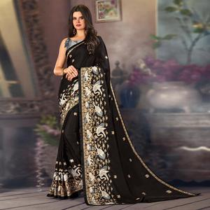 Gorgeous Black Colored Partywear Embroidered Satin Saree