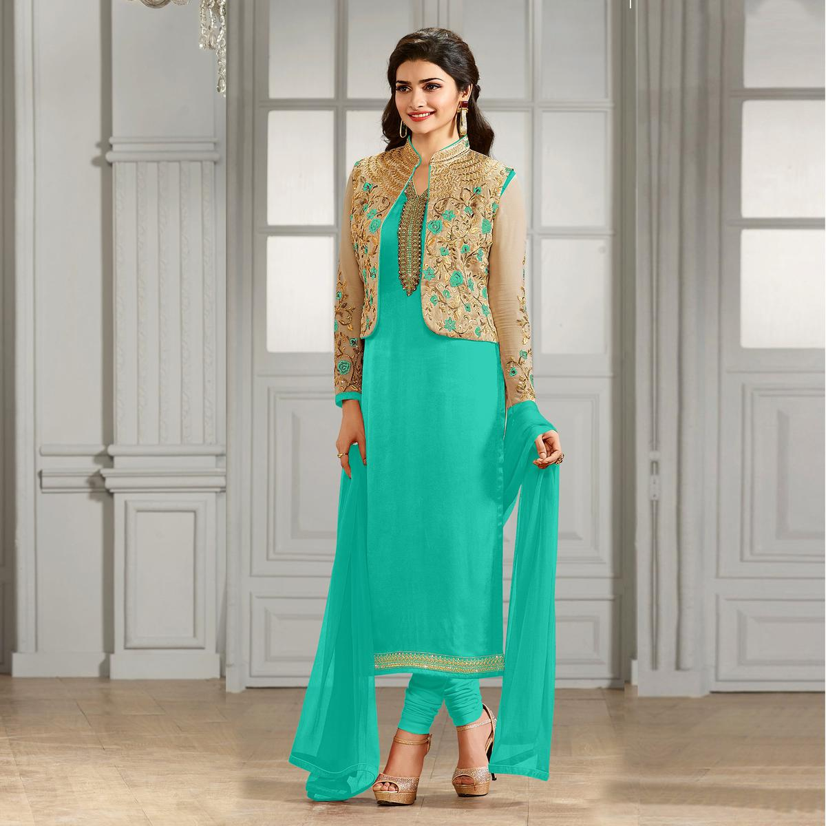 Buy Sky Blue Party Wear Designer Salwar Suit For Womens Online India
