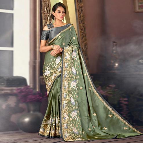 Marvellous Olive Green Colored Partywear Embroidered Satin Saree