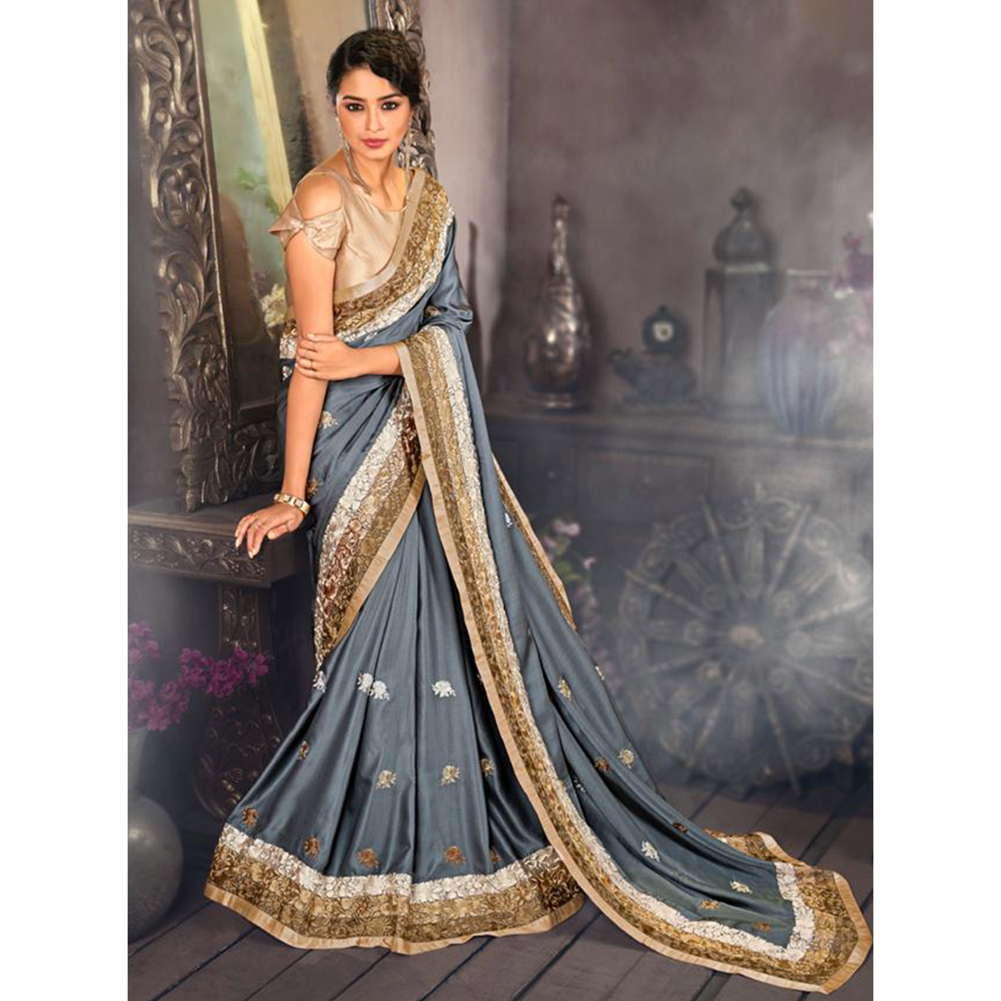 Excellent Gray Colored Partywear Embroidered Satin Saree