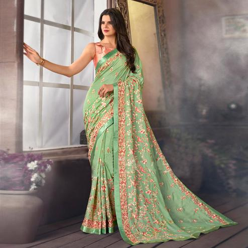 Refreshing Green Colored Partywear Embroidered Satin Saree