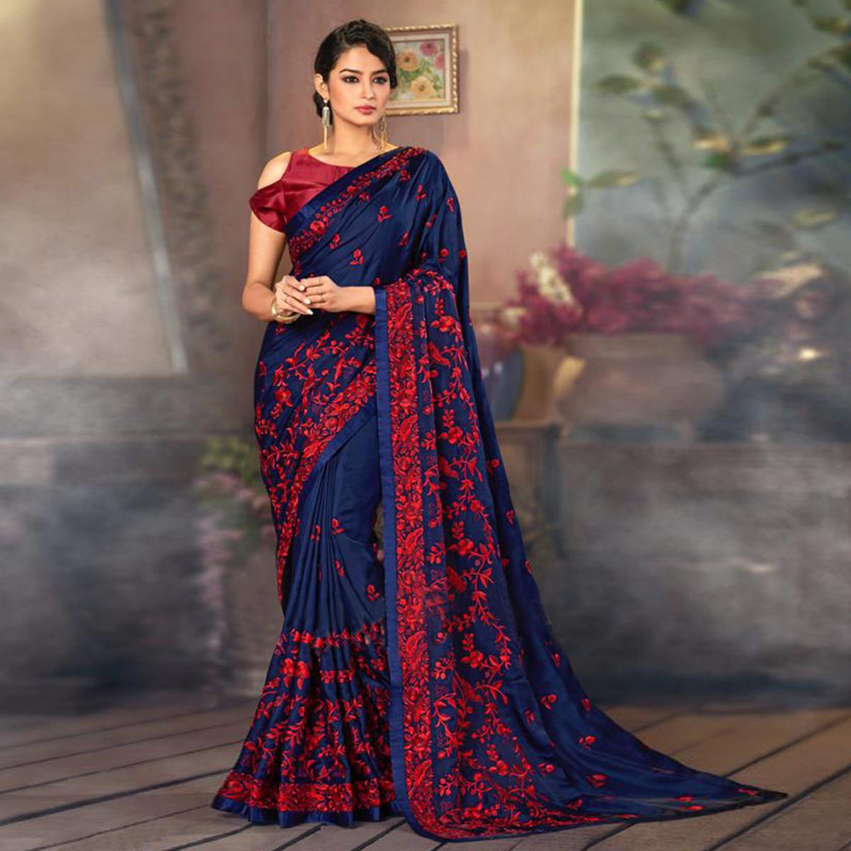 Mesmeric Navy Blue Colored Partywear Embroidered Satin Saree