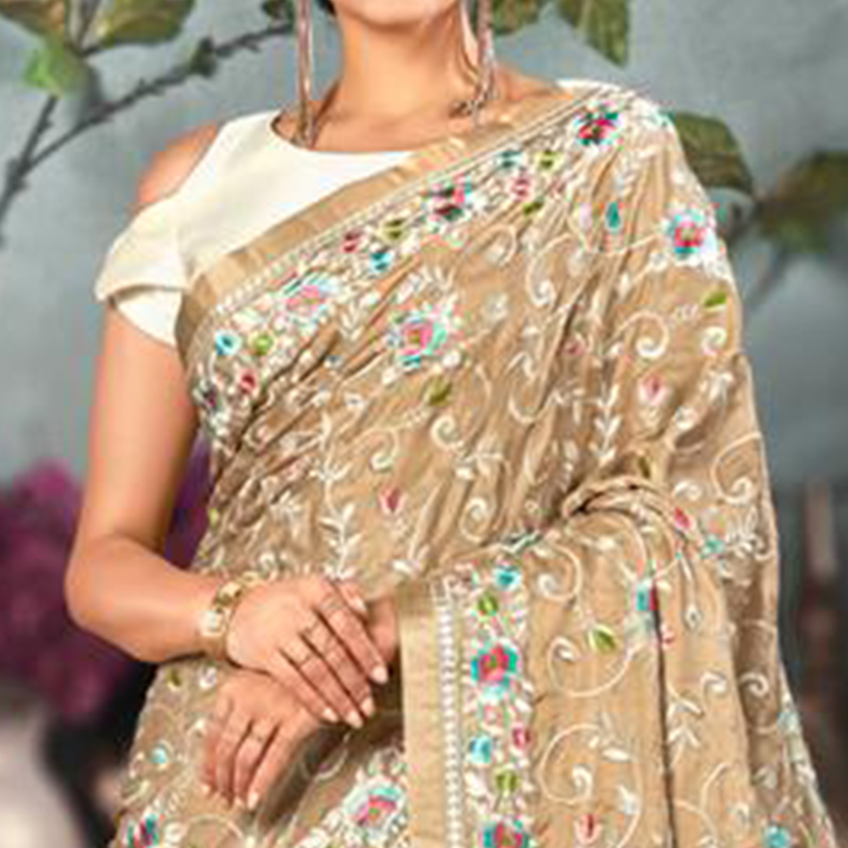 Appealing Beige Colored Partywear Embroidered Satin Saree