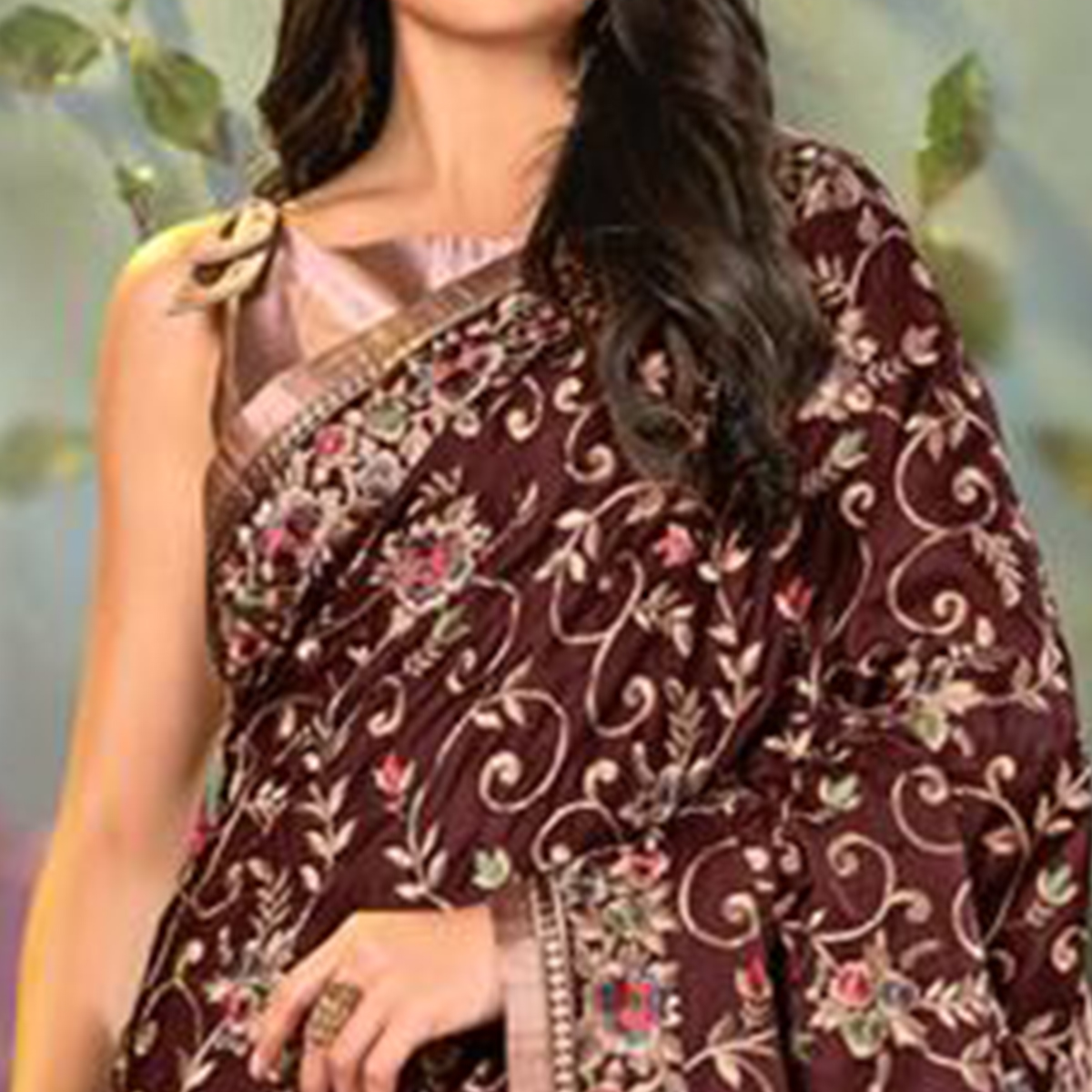 Magnetic Dark Brown Colored Partywear Embroidered Satin Saree