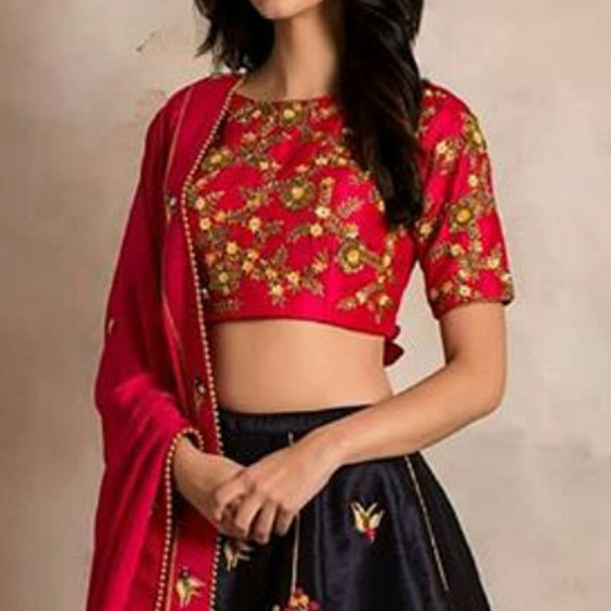 Trendy Navy Blue & Red Colored Party Wear Embroidered Satin-Banglori Silk Lehenga