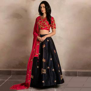 Trendy Navy Blue & Pink Colored Party Wear Embroidered Satin-Banglori Silk Lehenga