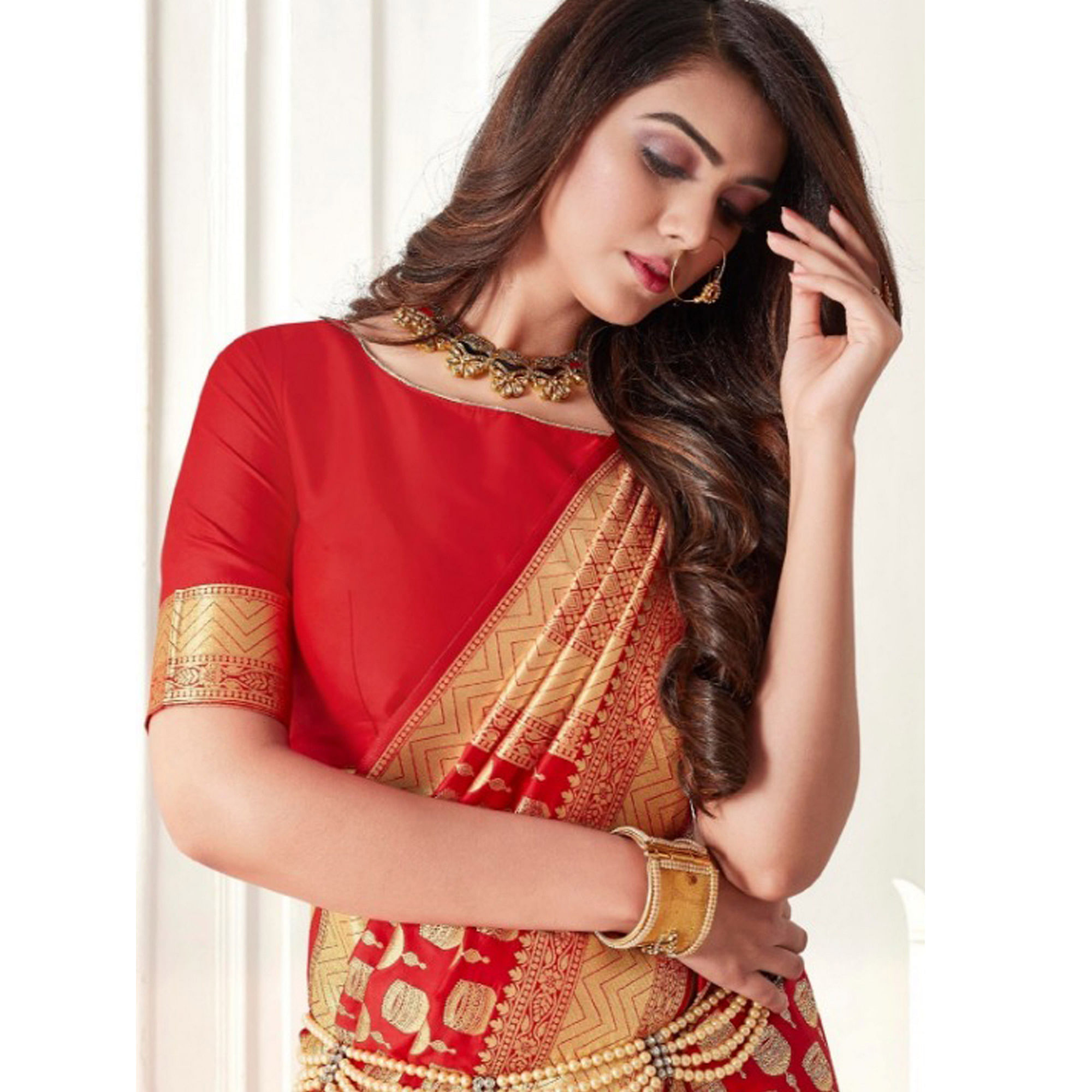 Stunning Red Colored Festive Wear Woven Banarasi Silk Saree