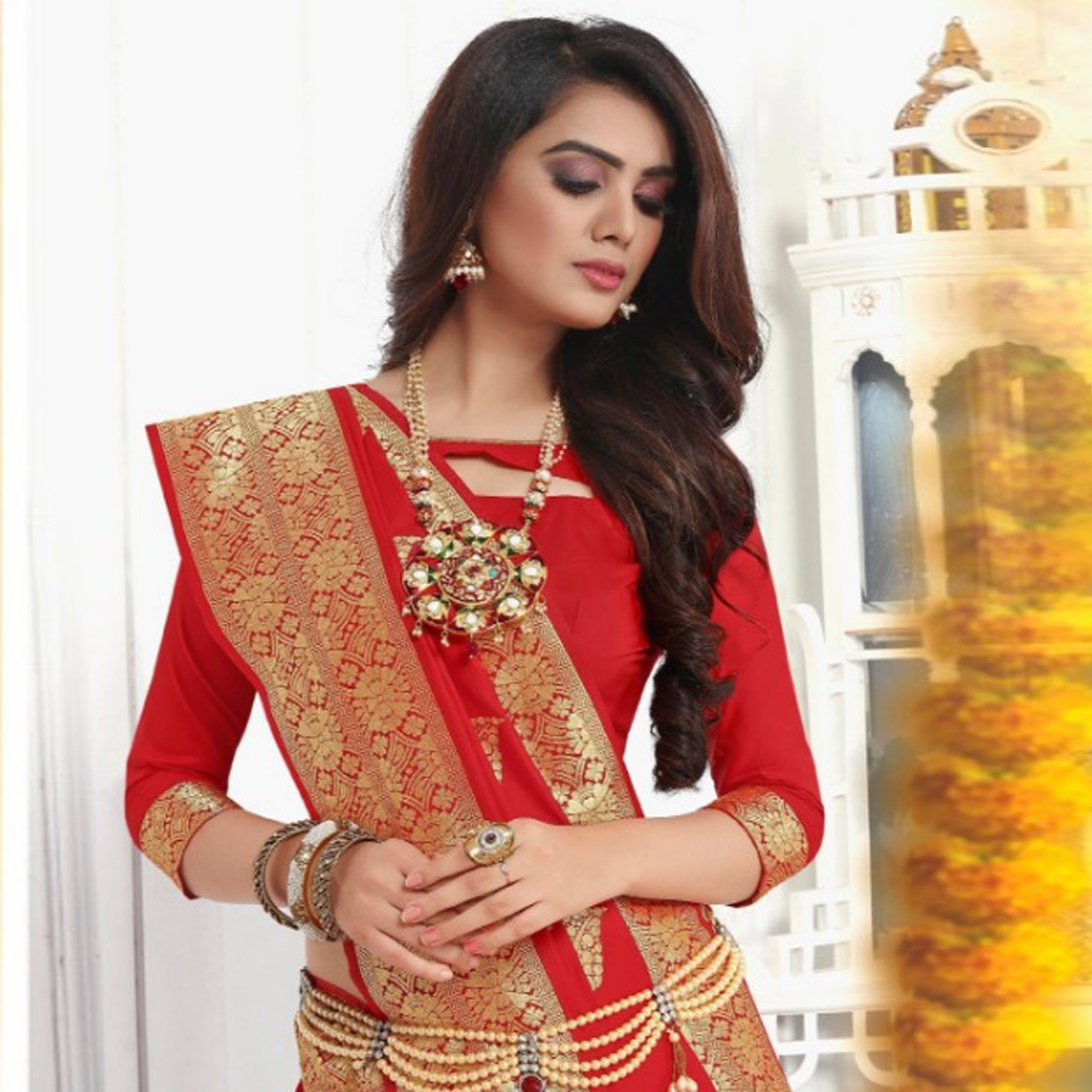 Marvellous Red Colored Festive Wear Woven Banarasi Silk Saree