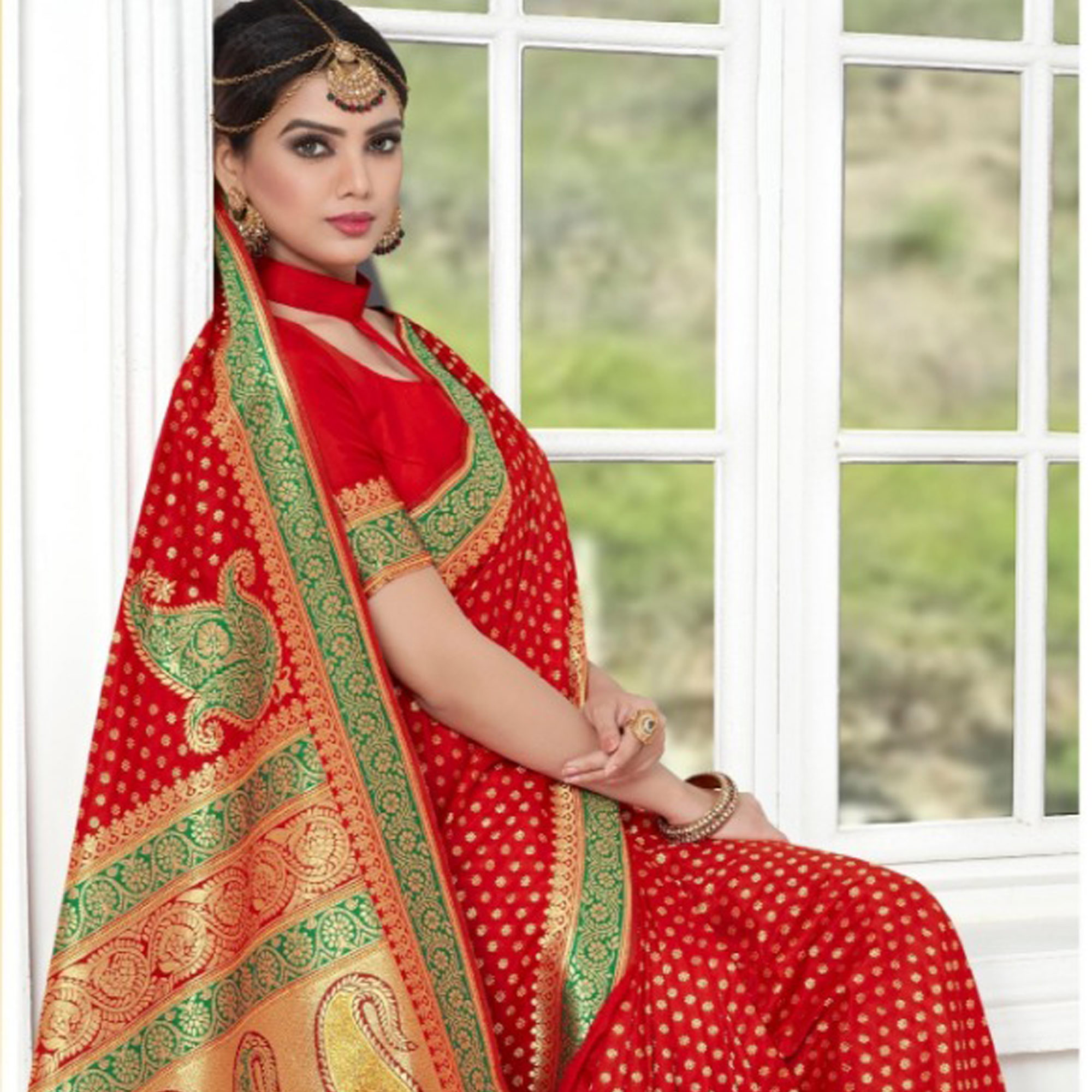 Impressive Red Colored Festive Wear Woven Banarasi Silk Saree
