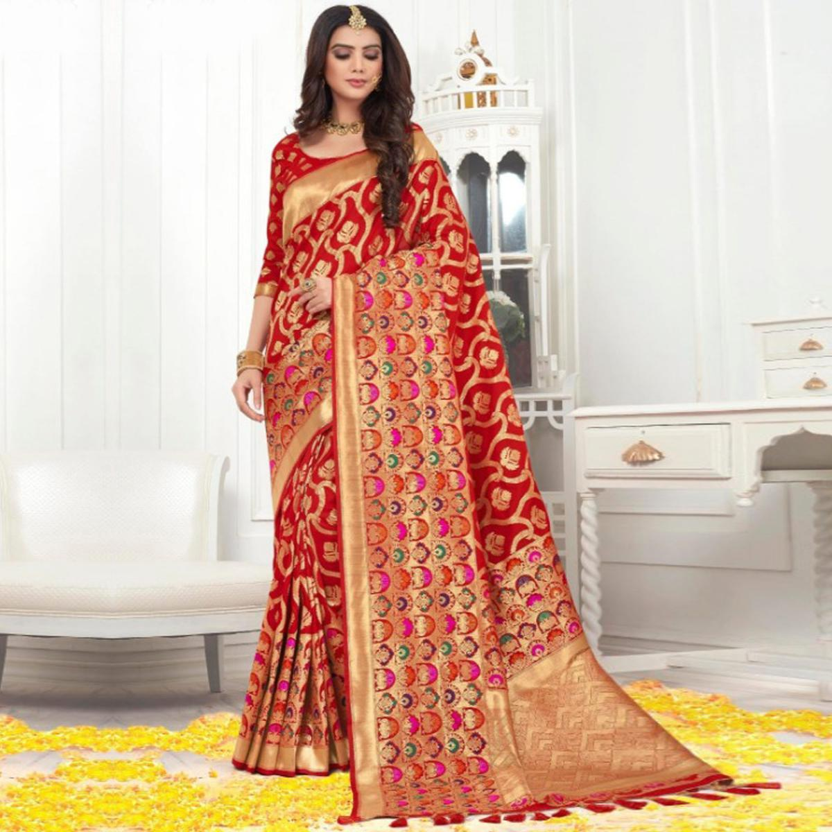 Appealing Red Colored Festive Wear Woven Banarasi Silk Saree