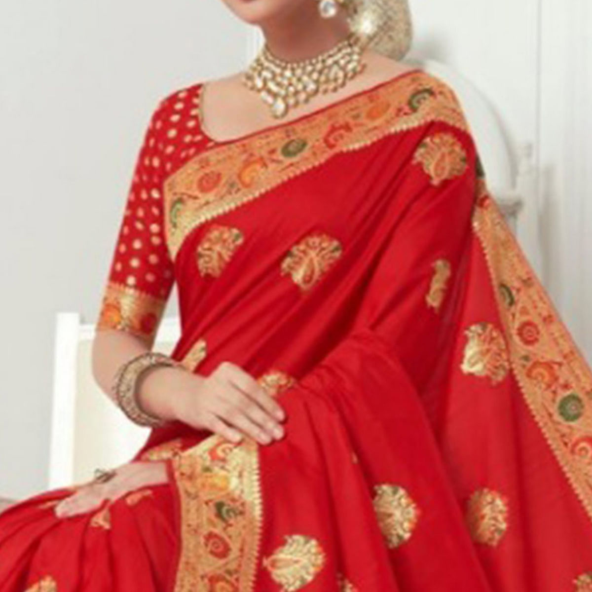 Mesmerising Red Colored Festive Wear Woven Banarasi Silk Saree