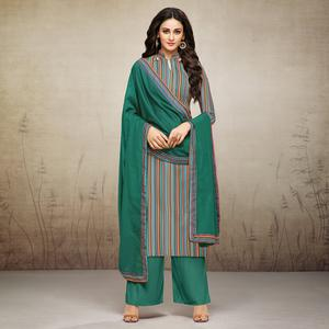 Attractive Green Colored Digital Printed Muslin Cotton Palazzo Suit