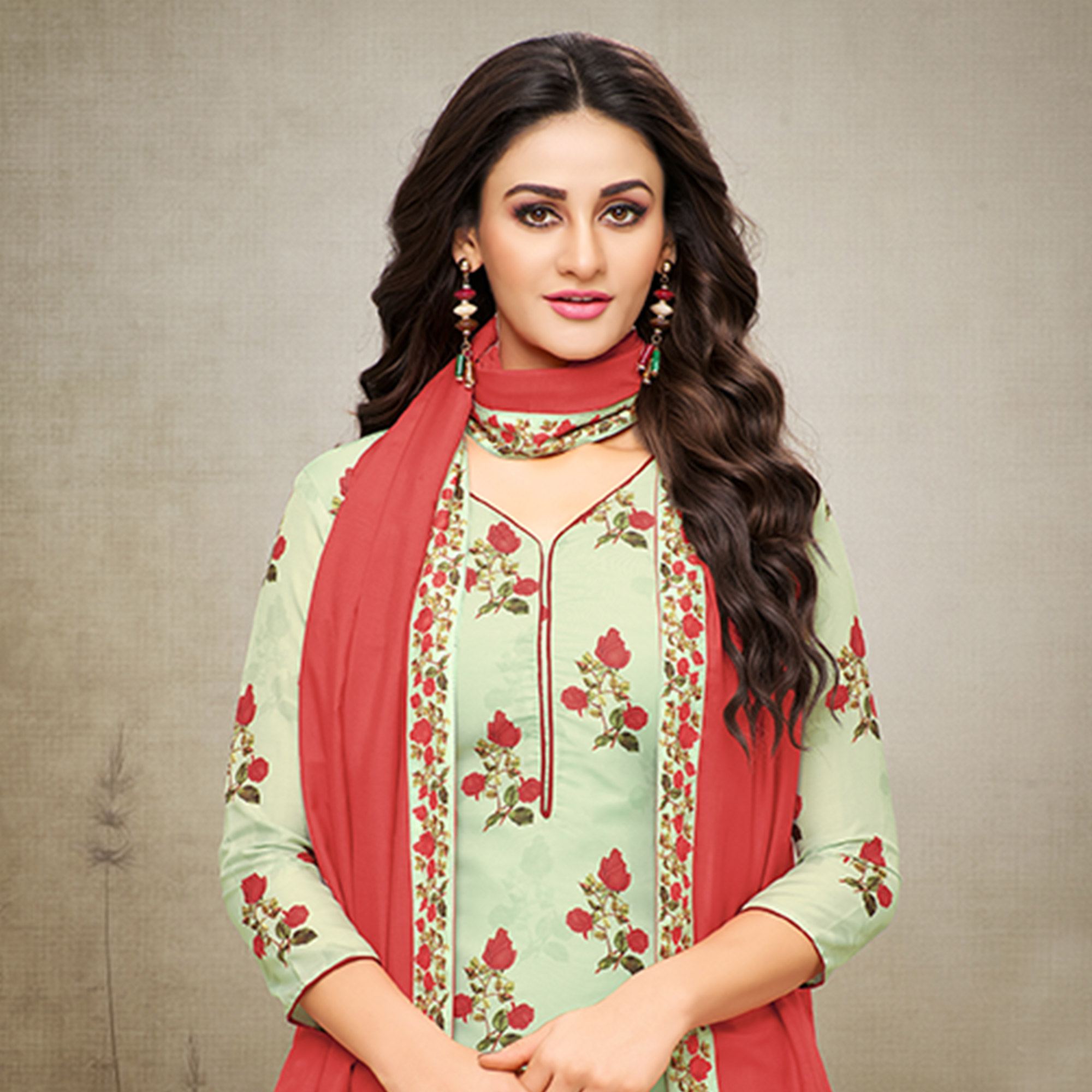 Beautiful Pale Green Colored Digital Printed Maslin Cotton Palazzo Suit