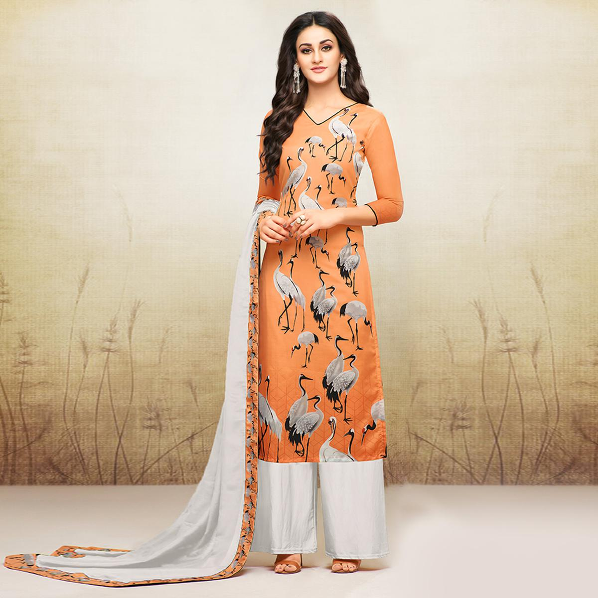 Gorgeous Orange Colored Digital Printed Muslin Cotton Palazzo Suit