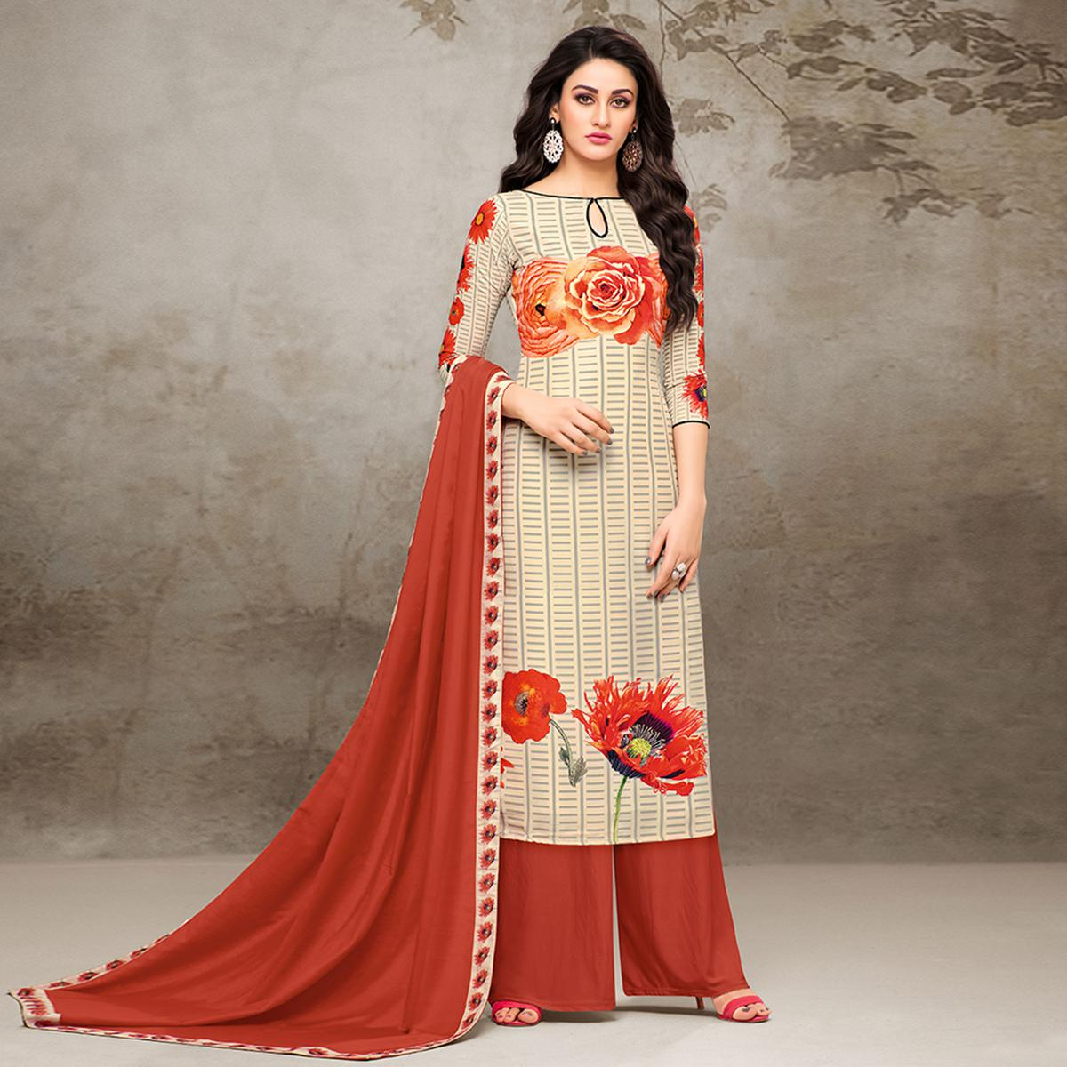 Classy Cream Colored Digital Printed Muslin Cotton Palazzo Suit
