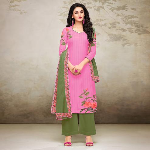 Glorious Pink Colored Digital Printed Muslin Cotton Palazzo Suit