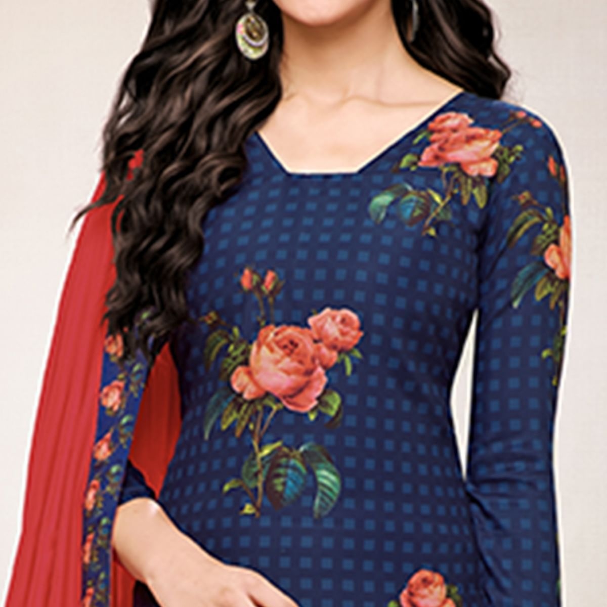 Graceful Navy Blue Colored Digital Printed Muslin Cotton Palazzo Suit