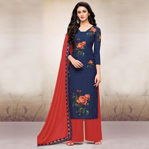 Graceful Navy Blue Colored Digital Printed Maslin Cotton Palazzo Suit
