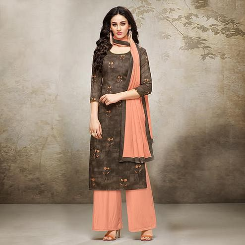 Lovely Brown Colored Digital Printed Muslin Cotton Palazzo Suit