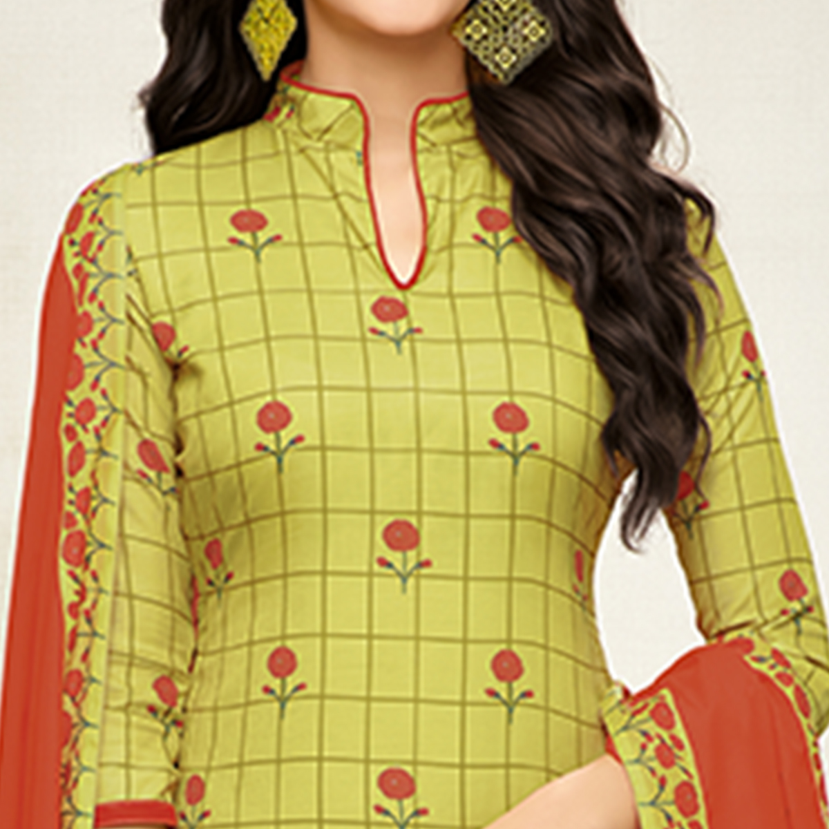 Charming Green Colored Digital Printed Muslin Cotton Palazzo Suit
