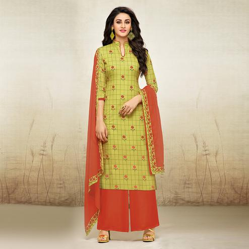 Charming Green Colored Digital Printed Maslin Cotton Palazzo Suit