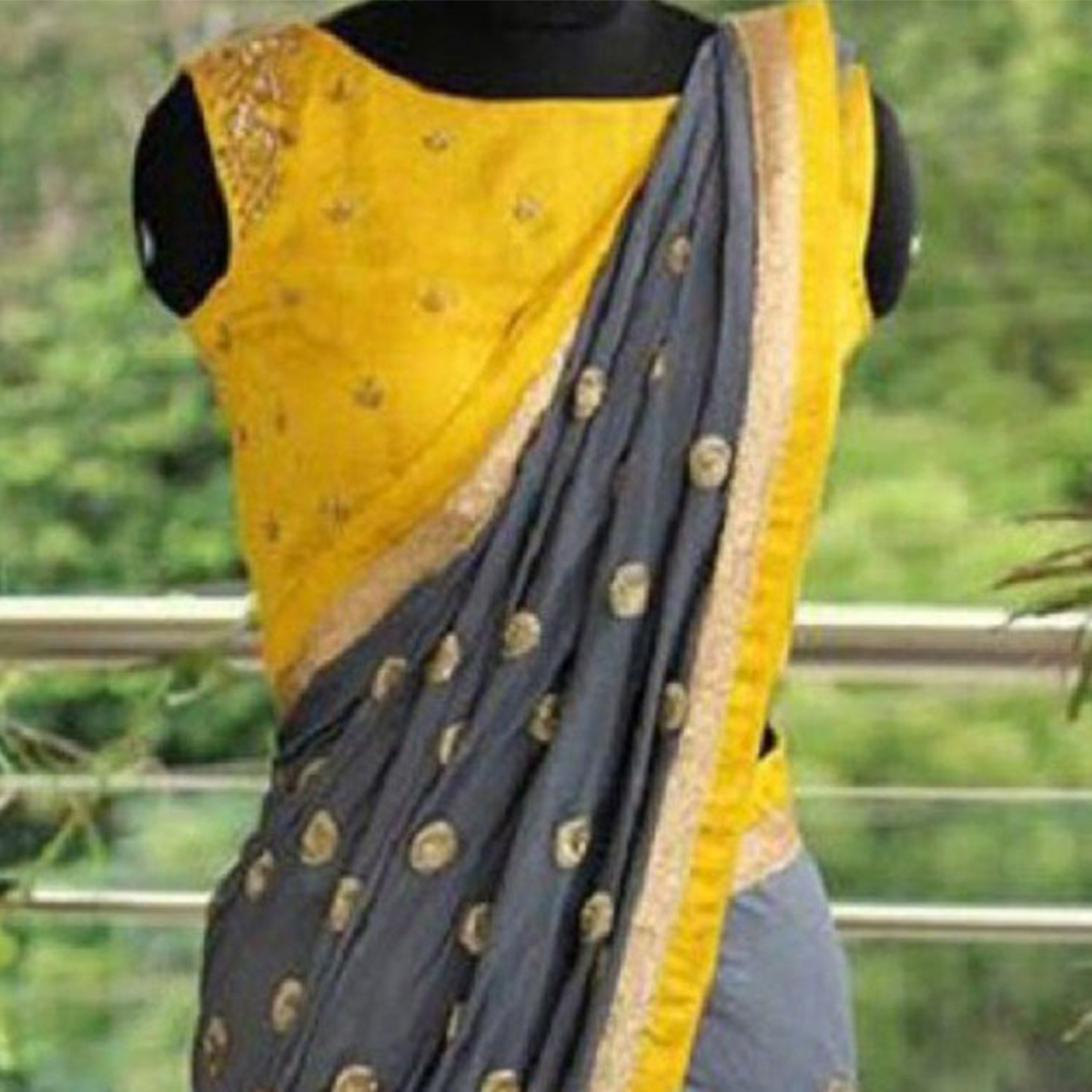 Gorgeous Gray Embroidered Partywear Chanderi Silk Saree