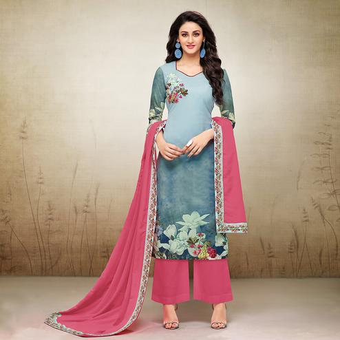 Pretty Shaded Blue Colored Digital Printed Maslin Cotton Palazzo Suit
