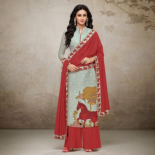 Ravishing Grey Colored Digital Printed Maslin Cotton Palazzo Suit
