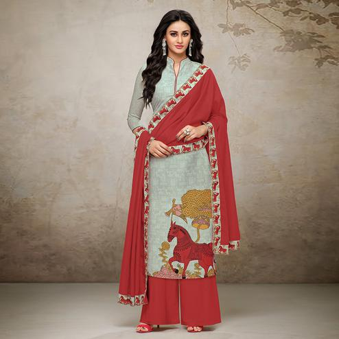 Ravishing Grey Colored Digital Printed Muslin Cotton Palazzo Suit
