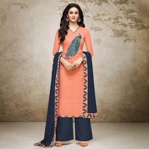 Majesty Peach Colored Digital Printed Muslin Cotton Palazzo Suit