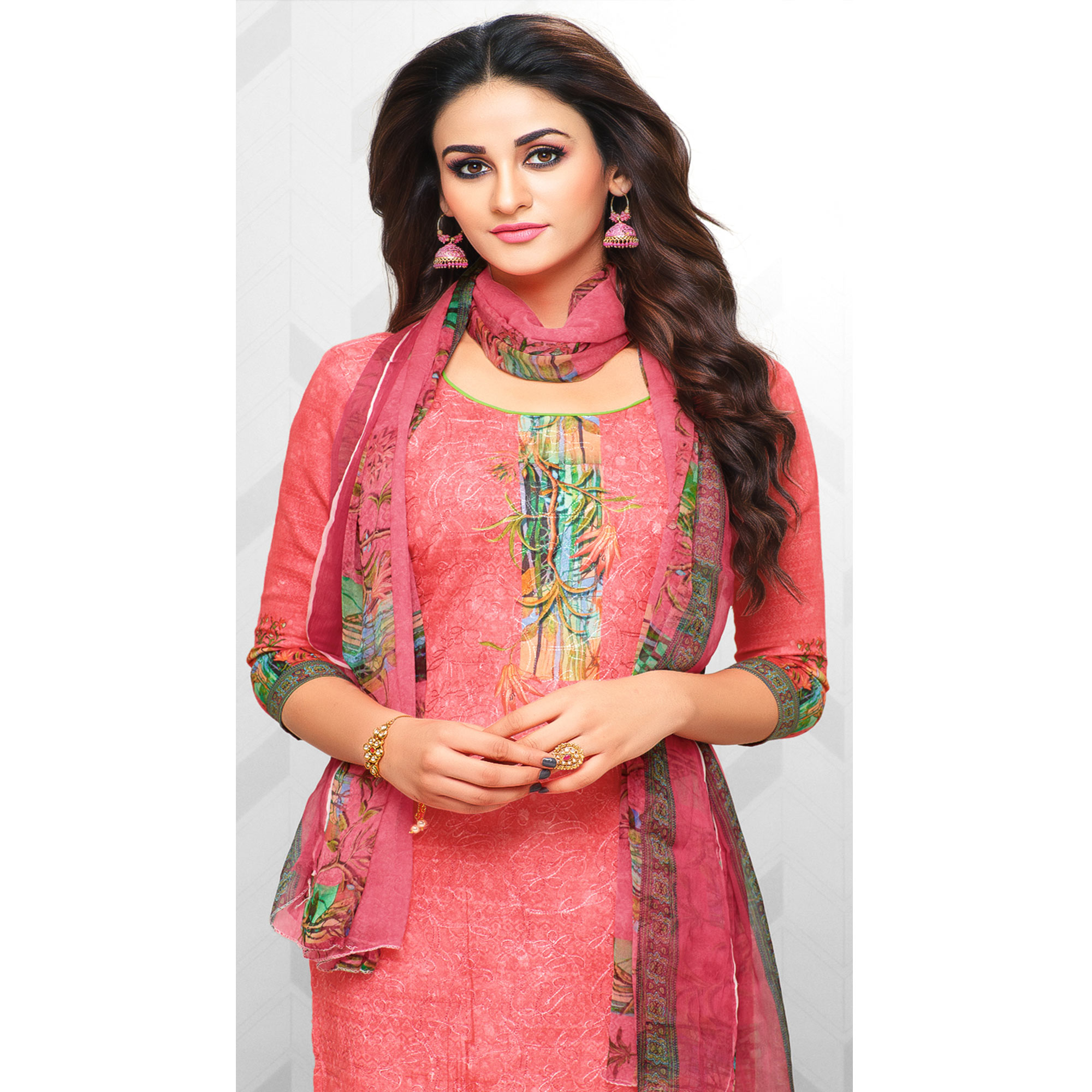 Stylish Coral Red Colored Partywear Printed Cotton Palazzo Suit