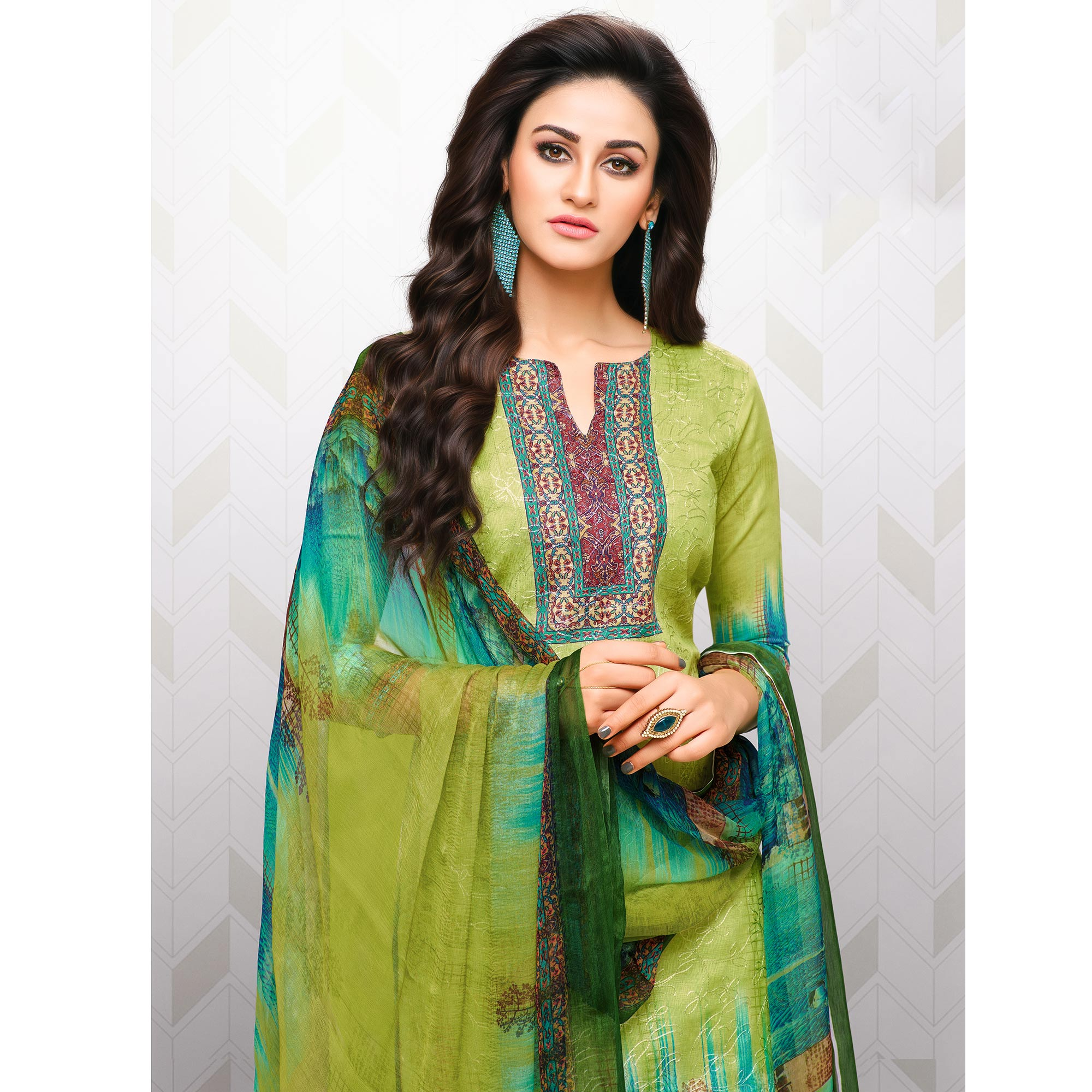 Marvellous Green Colored Partywear Printed Cotton Palazzo Suit