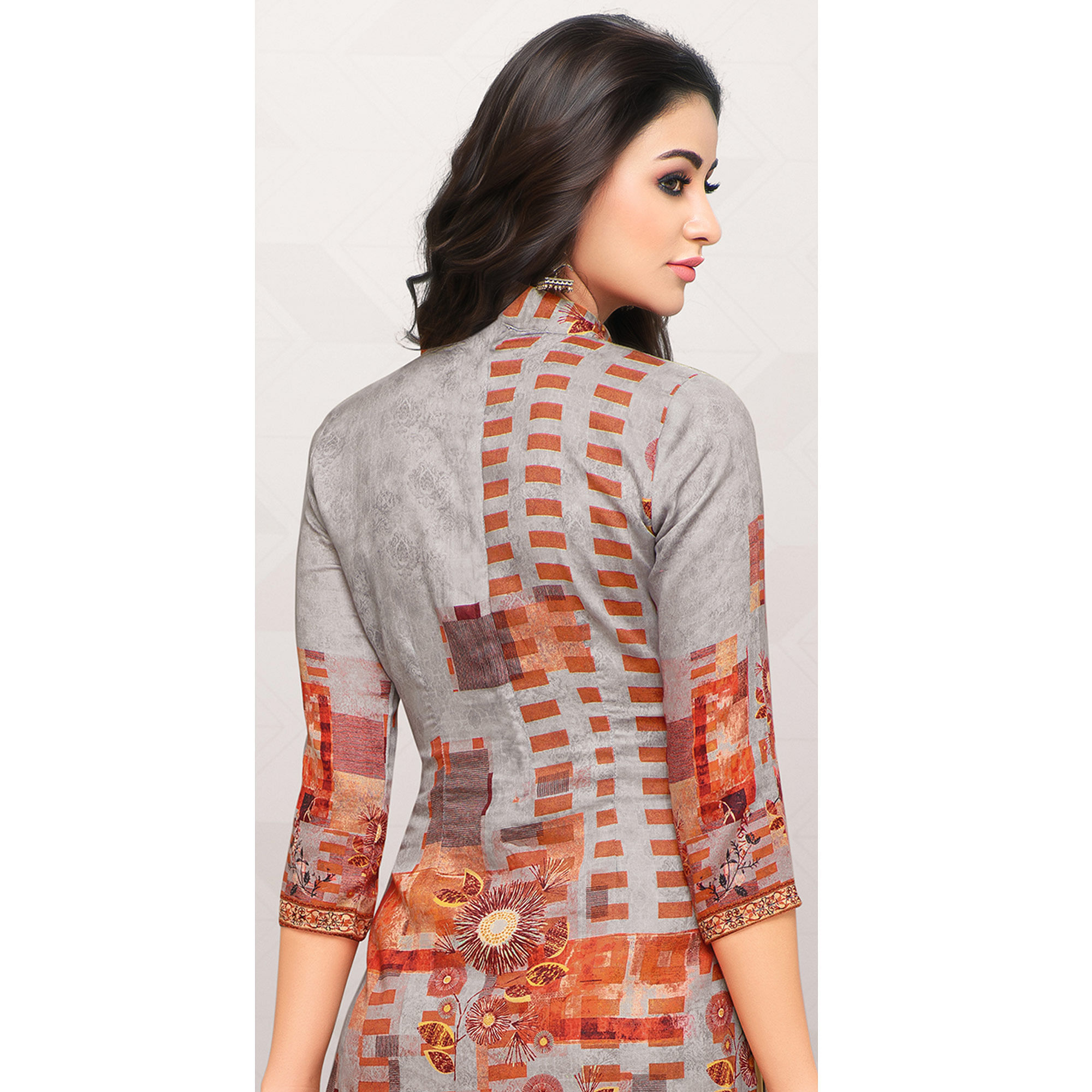 Classy Gray Colored Partywear Printed Cotton Palazzo Suit
