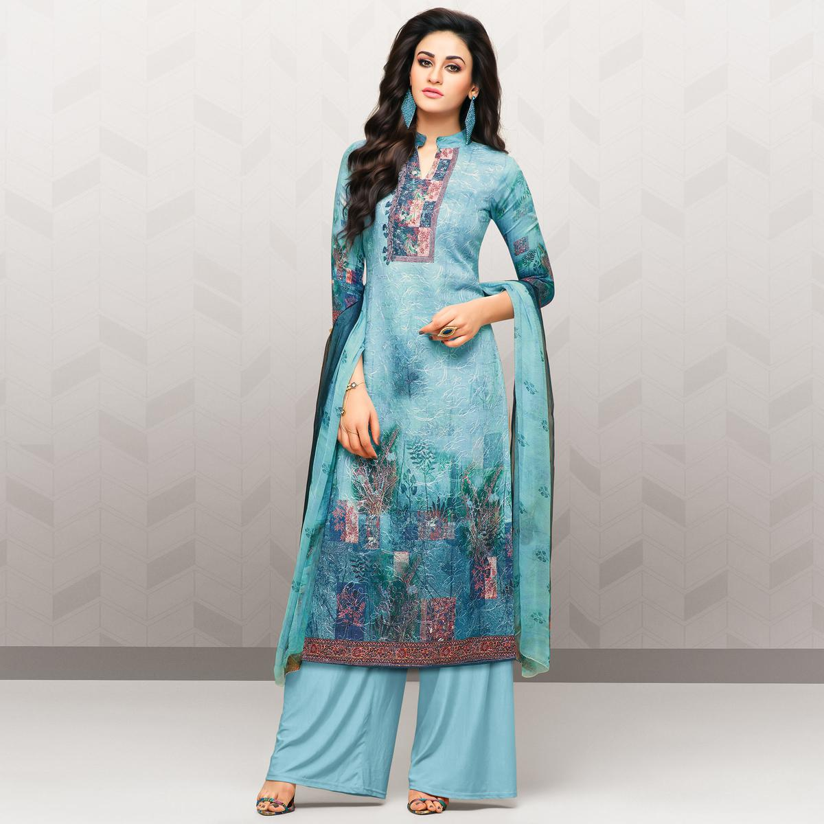 Refreshing Aqua Blue Colored Partywear Printed Cotton Palazzo Suit