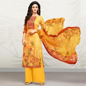 Demanding Yellow Colored Partywear Printed Cotton Palazzo Suit