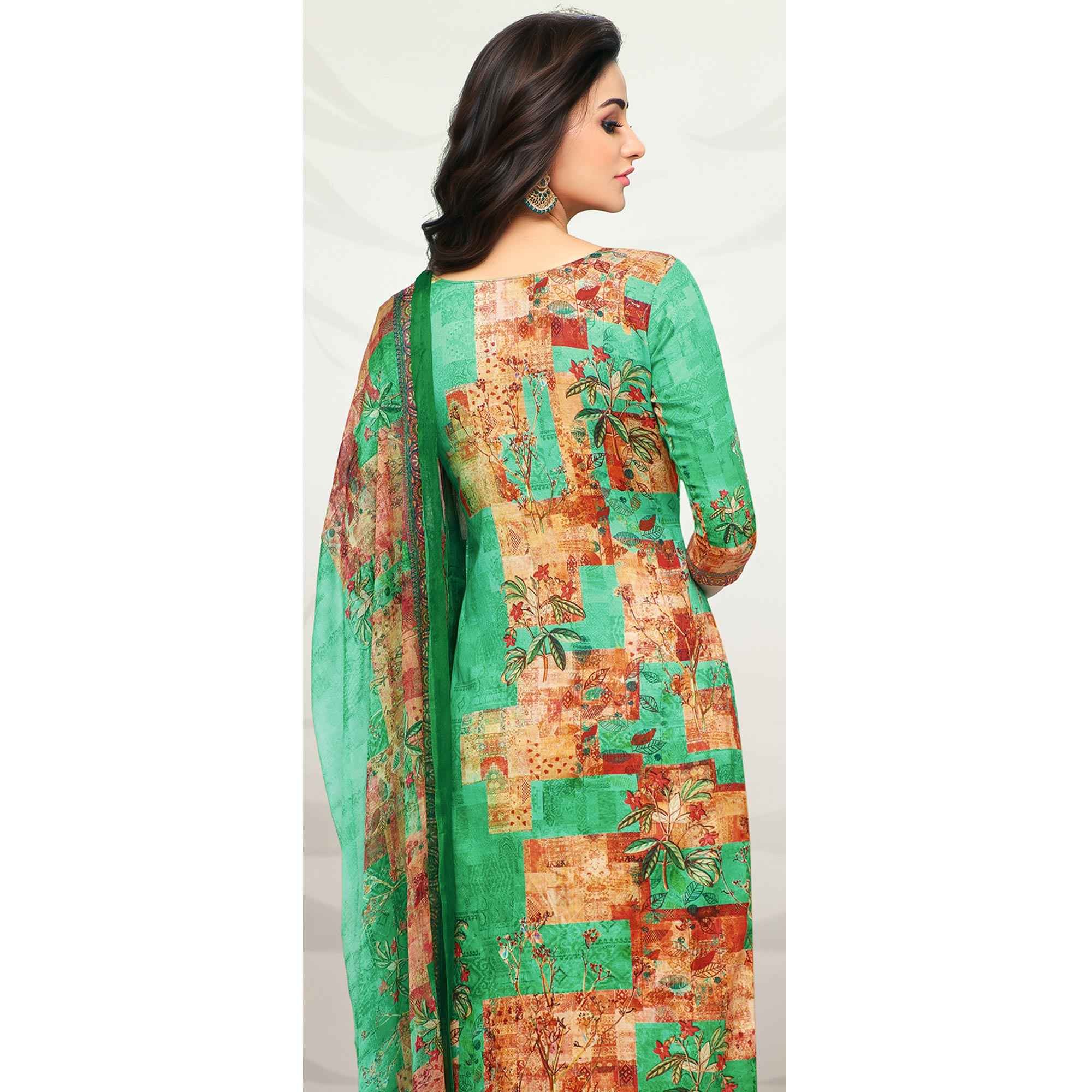 Impressive Turquoise Green Colored Partywear Printed Cotton Palazzo Suit