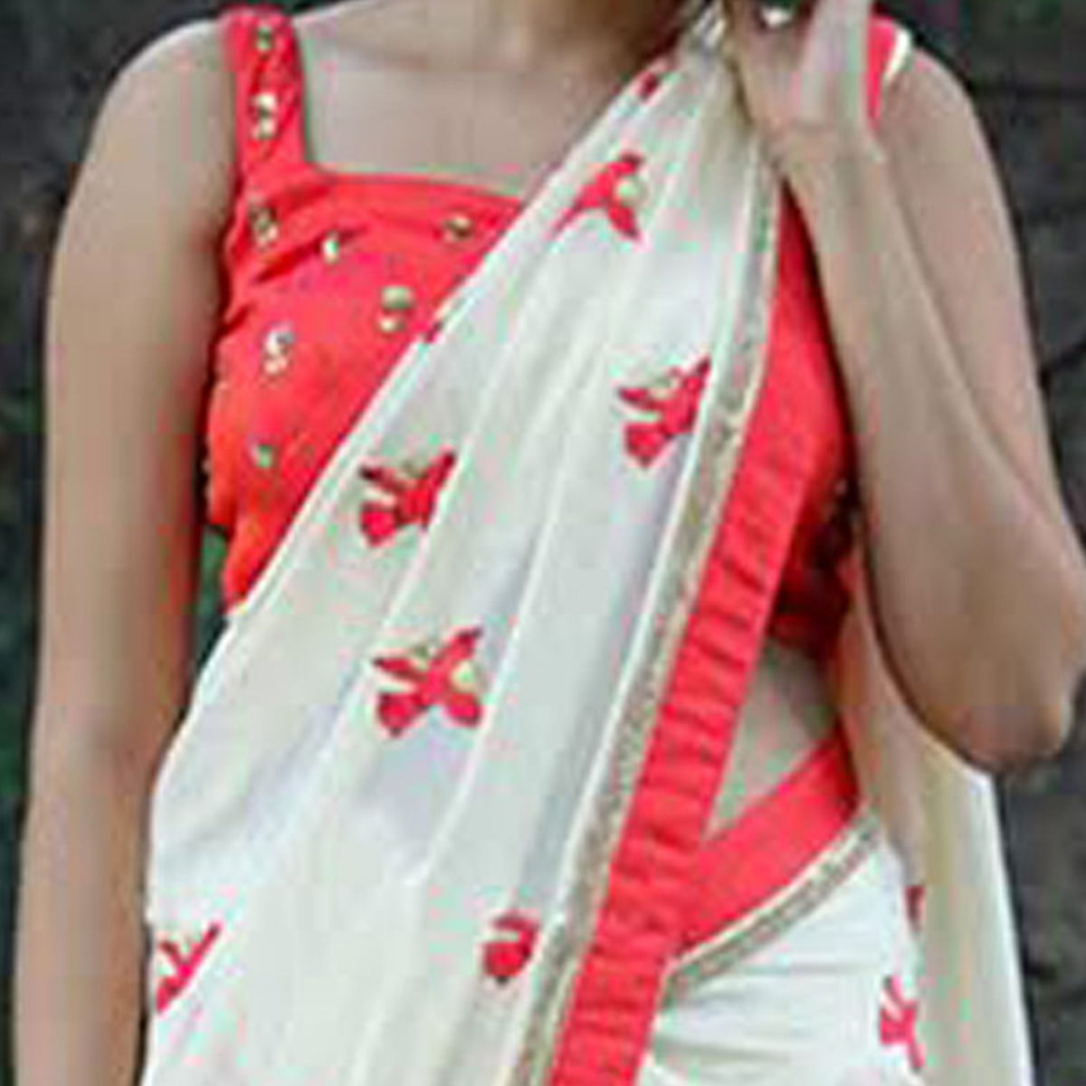 Beautiful Cream-Red Bird Embroidered Partywear Georgette Saree