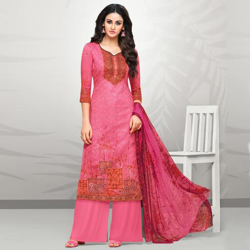 Attractive Pink Colored Partywear Printed Cotton Palazzo Suit