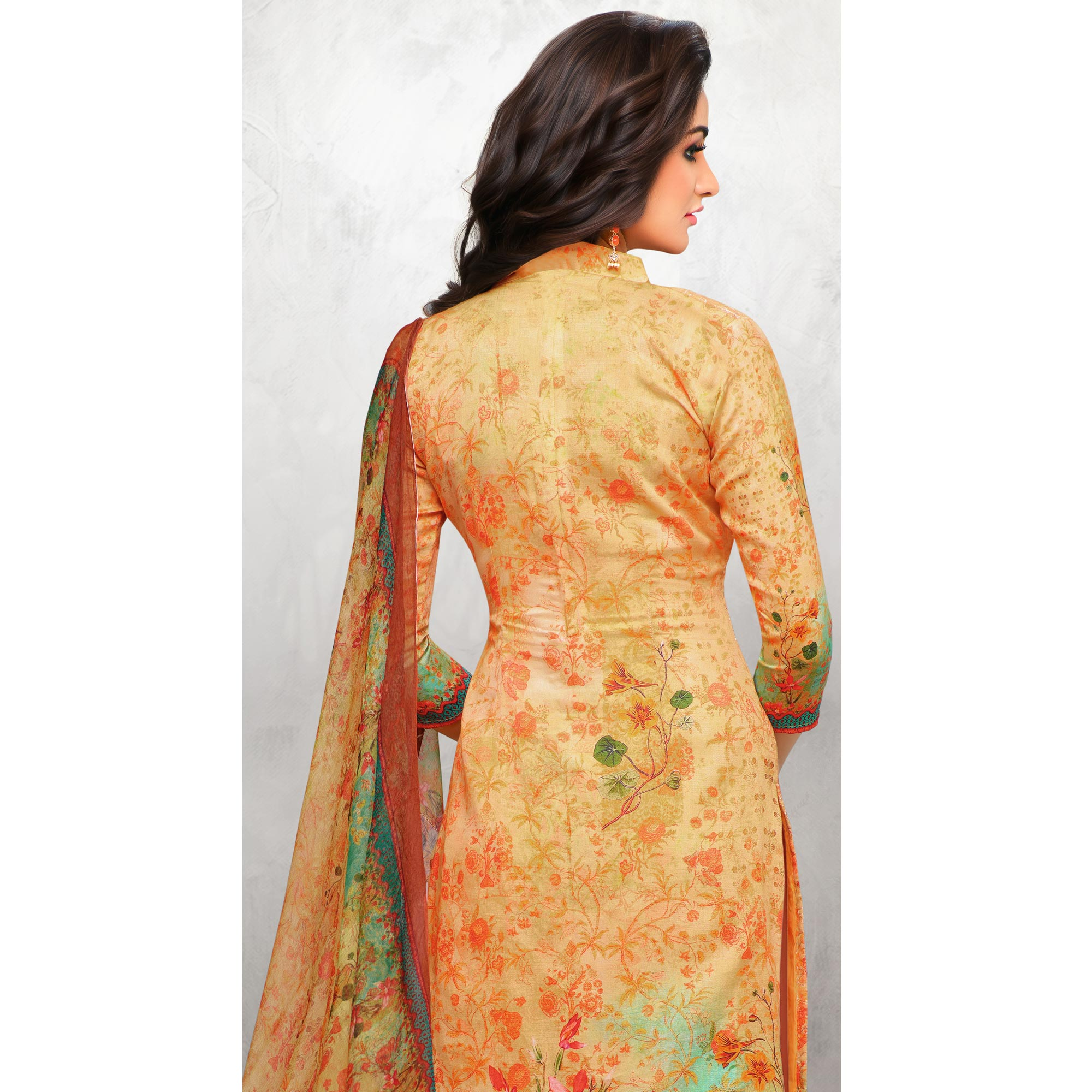 Exceptional Pastel Orange Colored Partywear Printed Cotton Palazzo Suit